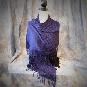 Charming Charlie Navy with lace edges scarf